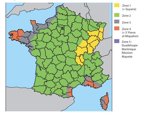 La classification des zones ventées en France : une carte classe les zones les plus exposées au vent :